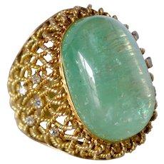 Vintage 14K yellow Gold Massive Emerald & Diamond Statement Ring