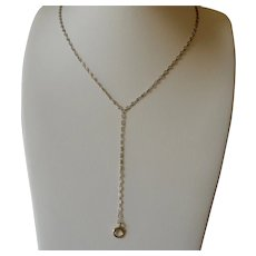 18K White Gold Long Y-Drop Chain Necklace