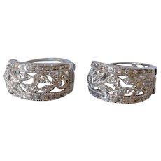 10K White Gold Filigree Floral Diamond Pave Pierced Hoop Earrings