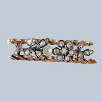 Lovely Victorian 14K Yellow Gold & Silver Rose Cut Diamond Flower Bar Brooch/Pin