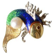 Italian 18K Yellow Gold Enamel Pearl Fish Brooch