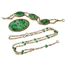Beautiful 14K Yellow Gold Carved Jade & Seed Pearl Necklace Bracelet & Brooch/Pendant Jewelry Set