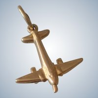 14K yellow Gold 3D Airplane Pendant Transportation Charm