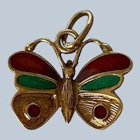 Italian 14K Yellow Gold Green & Red Enamel Butterfly Charm/Pendant