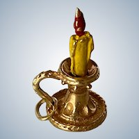 14K Yellow Gold Candle Stick Charm/Pendant with Red and Yellow Enamel