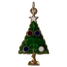 Cute 14K Yellow Gold & Colorful Enamel Christmas Tree Charm/Pendant