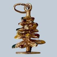 Charming 14K Yellow Gold & Enamel 3D Christmas Tree Charm/Pendant