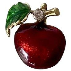 14K Yellow Gold Diamond & Enamel Red Apple Charm/Pendant