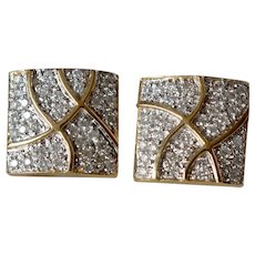 Shimmering 14K Yellow Gold Diamond Pave Hinged Omega Clip Back Pierced Square Earrings