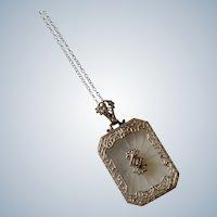 Antique Art Deco Filigree 14k White Gold Camphor Glass Crystal Diamond Necklace