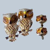 1940s Coro Craft Duette Owl Brooch/Pin & Clip On Earrings Set