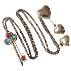 1940'S Coro Craft Sterling Key Bleeding Heart Chatelaine Brooch/Pin & Clip On Earrings Set