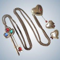 1940'S Coro Craft Sterling Key Bleeding Heart Chatelaine Brooch/Pin & Clip On Earrings Set