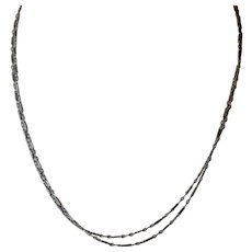 14K White Gold Double Strand Chain Necklace