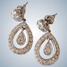 Elegant 14K White Gold 2.5Ct Tw Diamond Teardrop Dangle Pierced Earrings