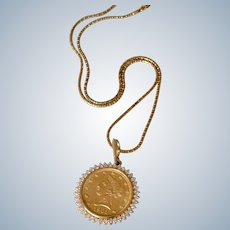 14K Yellow Gold & Diamond $10 1901 Eagle Liberty Head Coin Pendant/Necklace