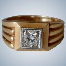 Massive 14 Karat Yellow Gold 0.65 Ct. Single Stone Diamond Men's Ring