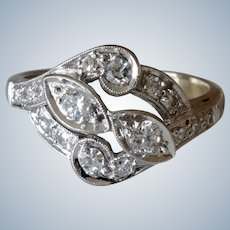 Romantic 14K White Gold Diamond Floral Ring