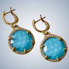 Vintage Judith Ripka 18K Yellow Gold Turquoise Doublet Diamond Drop Dangle Earrings
