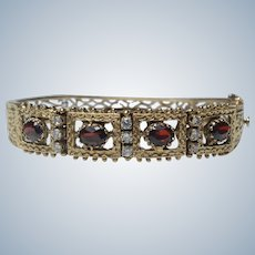 Vintage 14K Yellow Gold Garnet & Diamond Filigree Hinged Bangle Bracelet