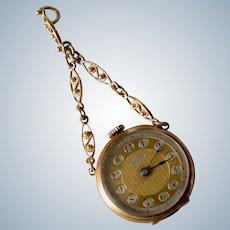 Antique 14K Yellow Gold & Blue Enamel & Rose Cut Diamond Invicta Pendant Pocket Watch W/Box