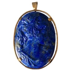 Large 18K Yellow Gold Blue Lapis Lazuli Carved Lady Cameo Pendant/Brooch