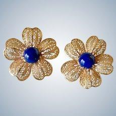 Beautiful 14K Yellow Gold Lapis Lazuli Flower Filigree Screw Back Earrings