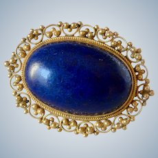 Vintage 14K Yellow Gold Lapis Lazuli Brooch