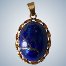 14K Yellow Gold Lapis Lazuli Pendant