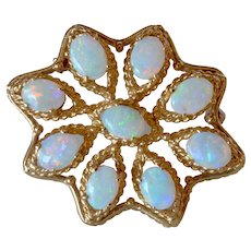 14K Yellow Gold Opal Cluster Filigree Brooch/Pin