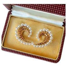 Mikimoto 14K Yellow Gold Cultured Pearl Large Screwback Earrings