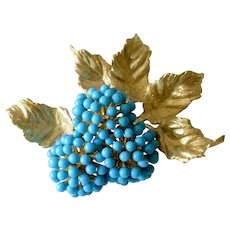 18K Yellow Gold Turquoise Bead Floral Cluster Grapevine Brooch/Pin