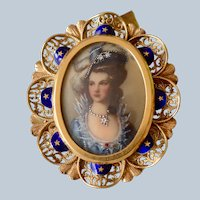 Gorgeous 18K Yellow Gold Filigree & Enamel Miniature Portrait Diamond Brooch/Pin