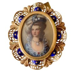 Gorgeous 18K Yellow Gold Filigree & Enamel Miniature Portrait Diamond Brooch/Pin