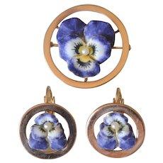Vintage 14K Yellow Gold Purple Enamel Pansy Flower Brooch & Clip On Earrings Set