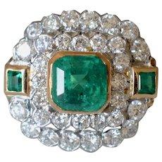 Amazing Mid-Century 14K Yellow Gold 3.21Ct Emerald & Diamond Cluster Ring