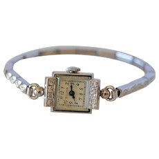 Vintage Bulova 14K White Gold & Diamond Ladies Wrist Watch