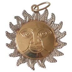 14K Yellow & White Gold Sun with Face Charm/Pendant