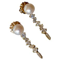 Gorgeous 18K Yellow Gold Pearl & 1.80Ct TW Diamond Drop Icicle Earrings