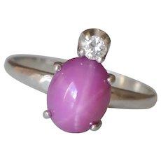 14K White Gold Star Ruby Diamond Ring