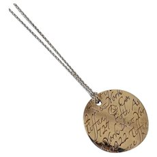 """Authentic Tiffany & Co. Notes """"Fifth Avenue"""" Address Necklace Round Sterling Silver Large Pendant Necklace"""