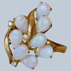 Beautiful 14K Yellow Gold Opal & Diamond Cluster Floral Ring