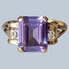 Lovely 10K Yellow Gold Emerald-Cut Amethyst & Diamond Ring