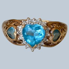 Dazzling 10K Yellow Gold Blue Heart & Diamond Filigree Ring