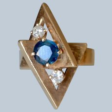 Vintage Modern 14K Yellow Gold Sapphire & Diamond Sculpture Ring