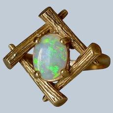 Vintage Modern 14K Textured Yellow Gold Opal Sculptural Ring