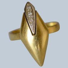 Italian Modernist 18K Yellow Gold Diamond Sculptural Ring