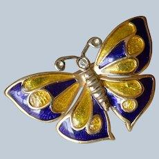 14K Yellow Gold Enamel & Diamond Butterfly Brooch/Pin