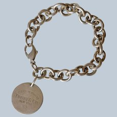 """Please Return To Tiffany & Co. Sterling Silver Round Tag/Charm Bracelet 7.25"""" w/Pouch"""