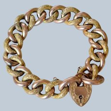 Antique Victorian 9K Yellow &  Rose Gold Curb Link Bracelet with Heart Lock Clasp